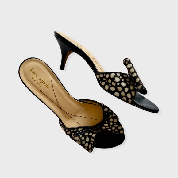 KATE SPADE Spotted Bow Leather Kitten Heels